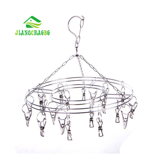 Stainless Steel Clothes Socks Shorts Underwear Drying Rack Hanger 20 Clips Cleaning Tools Laundry Products Hangers Racks