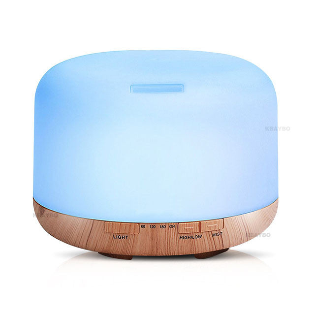 500ml Air Humidifier Essential Oil Diffuser Aroma Lamp Aromatherapy Electric Aroma Diffuser Mist Maker for Home-Wood