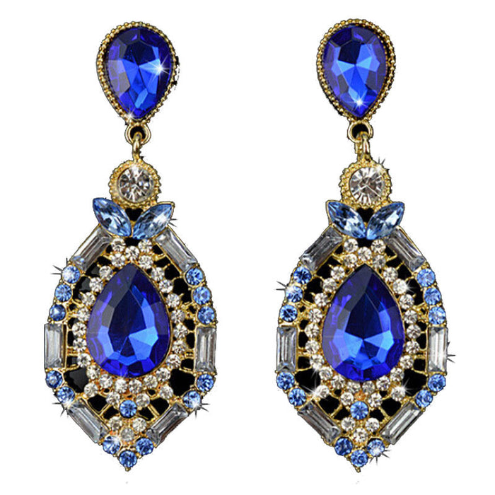 1 Pair Women Sparkling Crystal Teardrop Dangle Rhinestone Earrings beautiful accessories for you