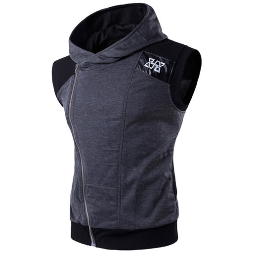 2017Mens Sleeveless Sweatshirt Hoodies Top Clothing T-Shirt Hooded Top Tee Sporting Hooded for Men Cotton Solid T Shirts Hooded