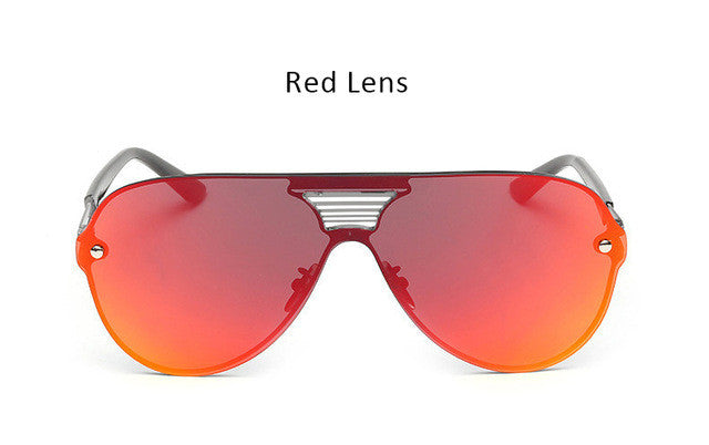 2017 New Shield Sunglasses Men Women Fashion Trend Brand Designer Rimless Alloy Frame Mirror Sun Glasses Male Aviation Driving