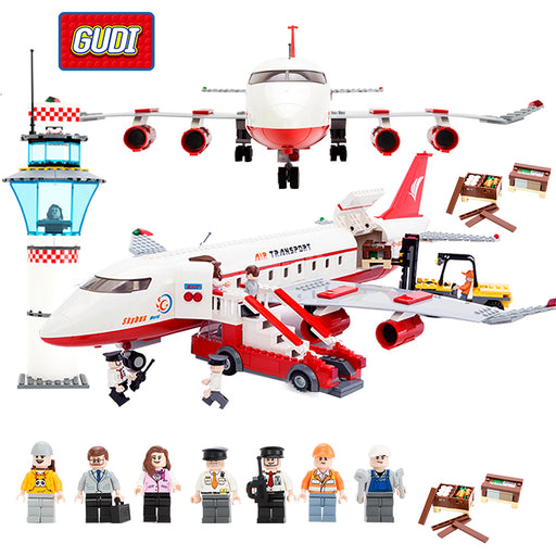 GUDI Block City Large Passenger Plane Airplane Block 856+pcs Bricks Assembly Boys Building Blocks Educational Toys For Children