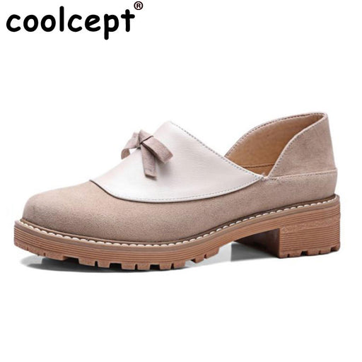 Coolcept  Slip-on Low Heel Thick Heel Shoes Oxfords Leisure Shoes Women Spring Fashion Bowtie Women Casual Shoes Size 33-43