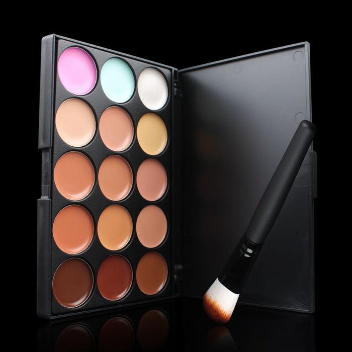 2IN1 15 Colors Concealer  Facial Face Cream Care Camouflage Makeup Base Palettes Cosmetic Makeup Brush Make up Tool