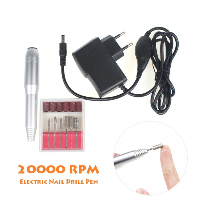 20000RPM Professional Electric Nail Art Drill Pen 6 Bits Nail Nursing Kit 100-240V Pedicure & Manicure Polish Machine