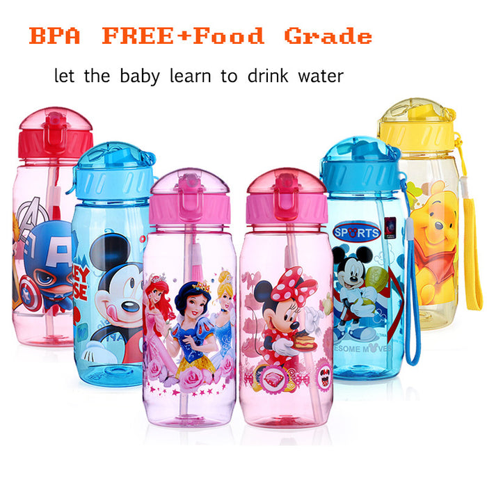 2017 New 400ML Kids Drinking Cartoon Water Bottles Cartoon Plastic Straw Bottle Children Kettle Sports Bottle With Lid BPA Free