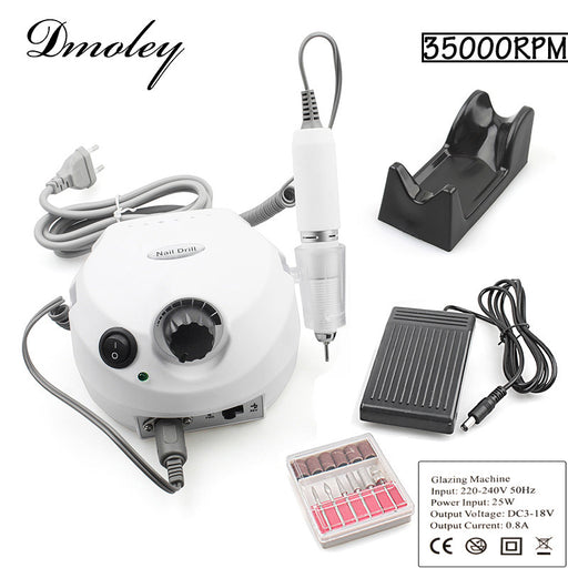 25W 35000RPM Pro Electric Nail Drill File Bit Machine Version Silicone Case Anti-scald Handle Manicure Kit Nail Equipment tools