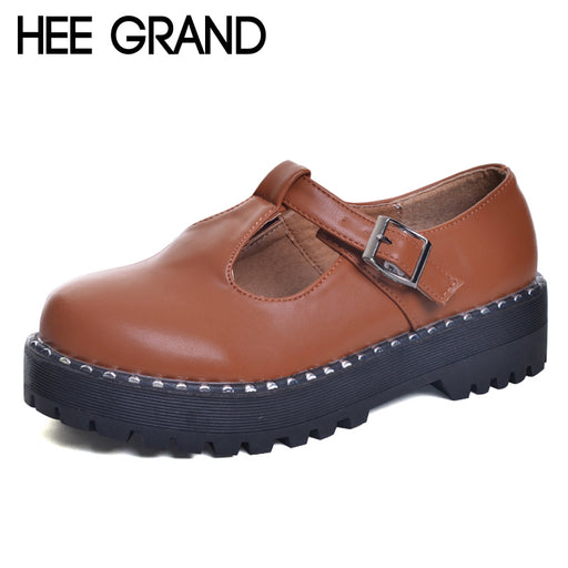 HEE GRAND 2017 Patent Leather Women Oxfords British New Spring Platform Flats Casual Buckle Strap Ladies Shoes Woman XWD5989
