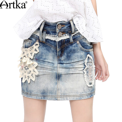 Artka Women's Autumn All-match Handmade Battenburg Lace Applique Pressed Pleats Whitewashed Effect Denim Pencil Skirt QN14332X