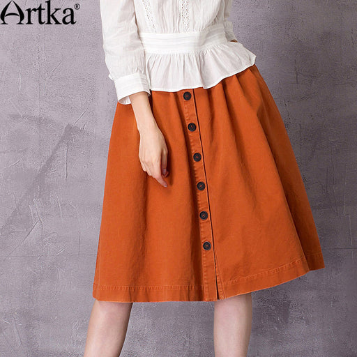 Artka Women's 2017 Autumn Solid Color Cotton All-match Skirt Vintage Empire Waist Knee-Length Wide Hem A-Line Skirt QA10579C