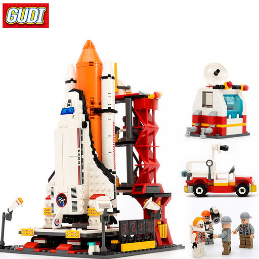 GUDI Building Blocks Playmobil DIY Building Blocks Space Shuttle Launch Center Model Blocks 679+pcs Bricks Toys For Children