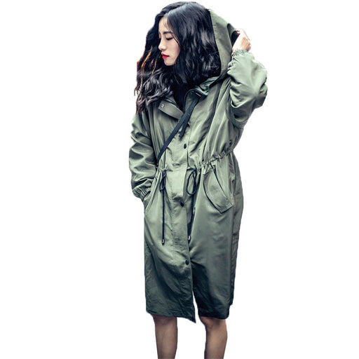 2017 Retro Women Autumn Hooded Long Sleeve Zipper Drawstring Jacket Trenchcoat Hoodies Outerwear Casual Long Coat Windbreaker