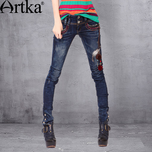 Artka Women's Autumn New Embroidery Handmade Decoration Slim Fit Washed Pencil Pants K810056Q