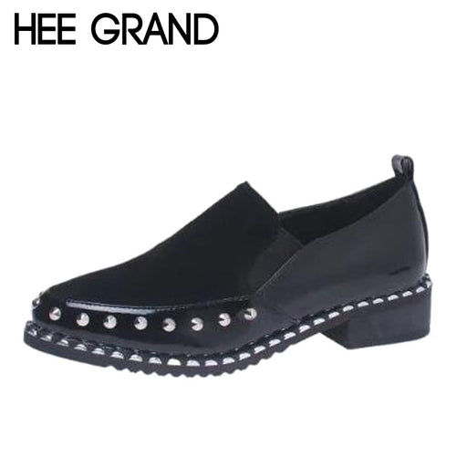 HEE GRAND Rivet Decoration Women Pointed Toe Women Thick Heel Oxfords Neutral Style Slip-on Woman's Shoes XWX6265