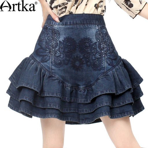 Artka Women's Autumn Slim Fit Cut Frilled Delicate Floral Embroidery Bud-shaped Denim Short Skirt KN11020Q