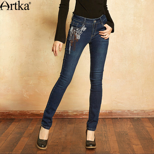 Artka Women's Jeans 2017 Autumn Winter Jeans For Girls Elastic Skinny Jeans Women Denim Pencil Pants Embroidery Jeans KN11171Q