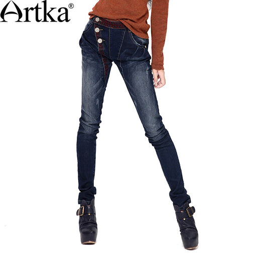 Artka Women'S Bleached Washed Button Pencil Pants Softener Pockets National Embroidery Cotton Skinny Pants  KN17130Q