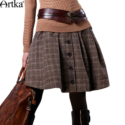Artka Autumn Skirt For Women 2017 Winter Women's Wool Skirt Lolita Short Skirt For Girls Vintage Plaid Skirt Mini Saia QA10058Q