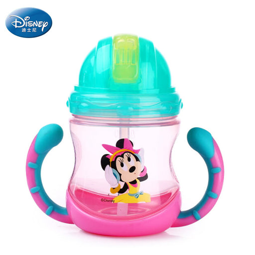 Baby straw bottle with handle Disney Mickey Minnie feeding cups milk cup with straw for kids drinking water BPA free PP copos