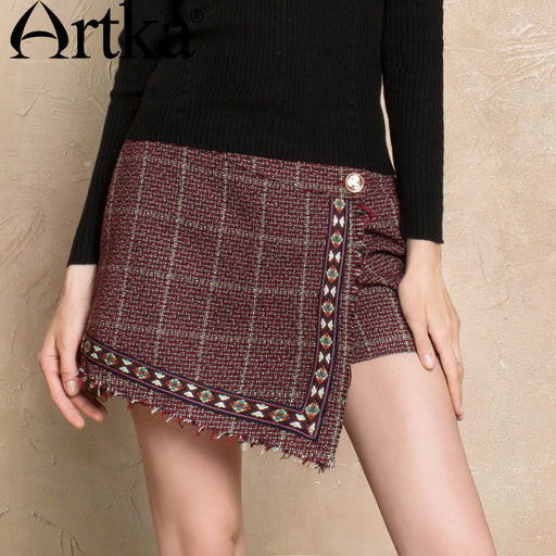Artka Women's Autumn Skirt 2017 Asymmetrical Embroidery Skirt Female Vintage High Waist Skirt Girls Wool Mini Skirt KA10173Q