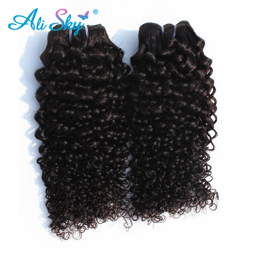 Ali Sky Malaysian Kinky Curly nonremy Hair Weaving Bundles Human Hair Extensions Natural Black Can Buy 3 Or 4 Piece thick weft