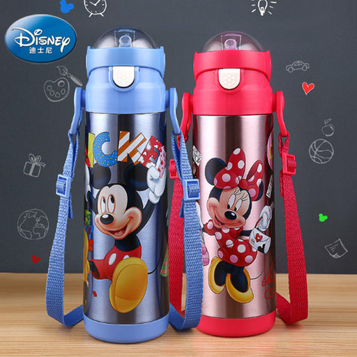 Baby Feeding Thermos cup with straw Mickey Minnie bottle Portable Stainless Steel Vacuum Flask no spill Birthday gift for kids