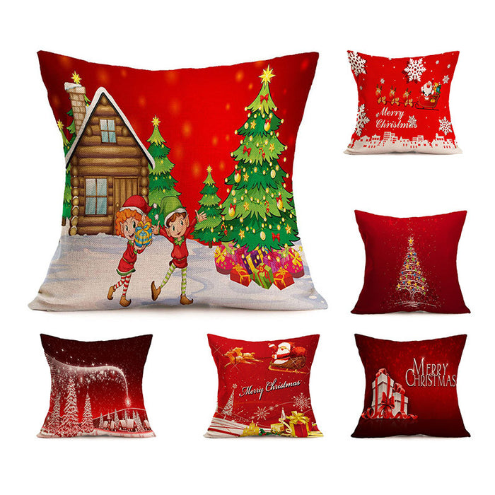 1pc 45*45CM Hot Christmas Decorations For Home Xmas Pillowcase Tree Santa Claus Linen Cushion Cover Set Red Pillow Case