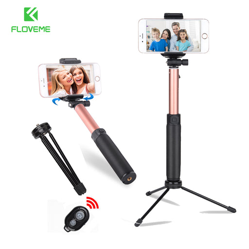 FLOVEME Tripod Selfie Stick With Mirror For iPhone Xiaomi Universal Bluetooth Selfie Stick Monopod Tripod Stick For Smartphone
