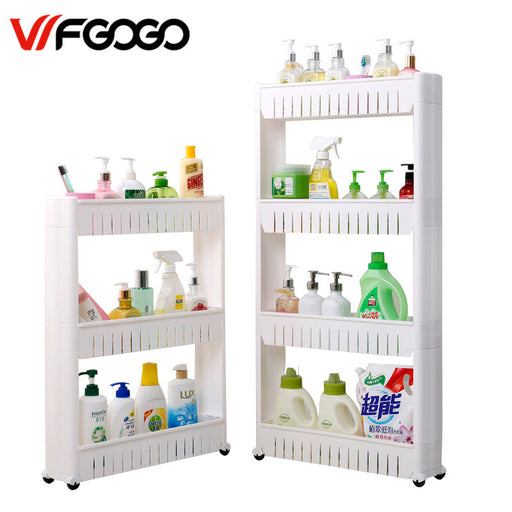 WFGOGO Multipurpose Bathroom Storage Storage Rack Shelf Multi-layer Refrigerator Side Shelf Shelf with Removable Wheels Crack