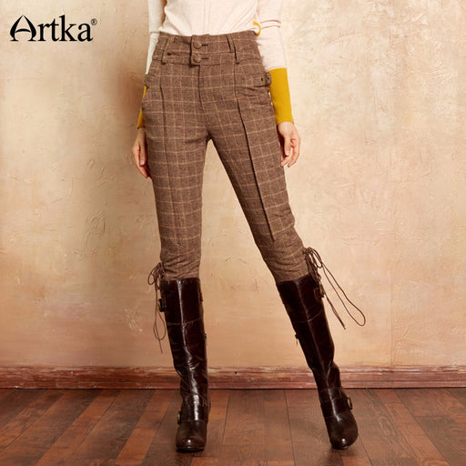 Artka Women's Classic Trousers 2017 Autumn & Winter Calf-Length Pants Women Knight Causal Breeches Plaid Vintage Pants