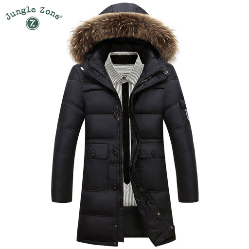 4XL Winter Warm Jackets black Coat White Duck Down Long Jacket mens Casual Parkas natural fur collar hooded coats Hat Detachable