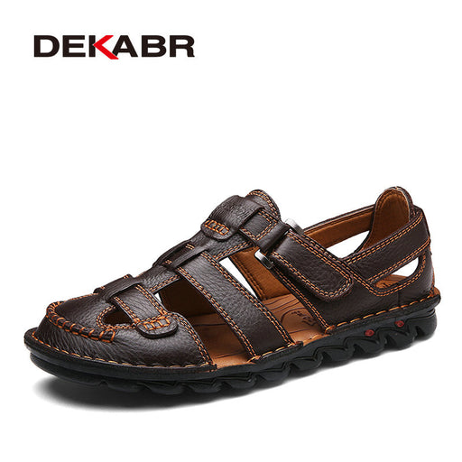 DEKABR Brand Men Casual Beach Shoes High Quality Summer Sandals Soft Sole Fashion Men Genuine Leather Slippers Men Flip Flops