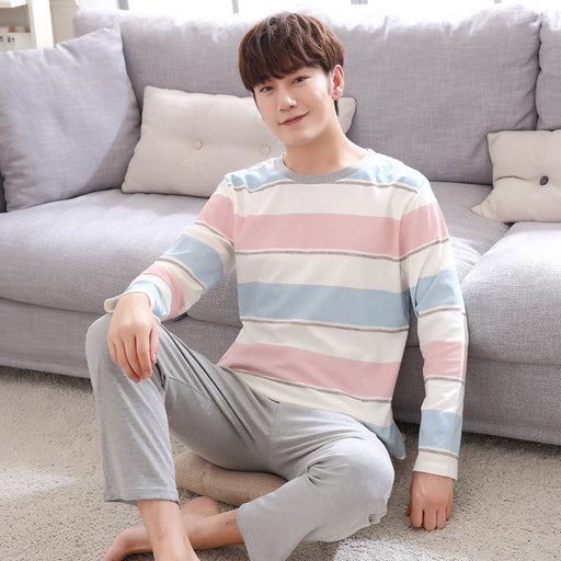 CR Spring Autumn Men Pajamas Set Cotton Long Sleeve O-neck Pajama For Men Sleepshirts Couple Striped Sleepwear Homewear
