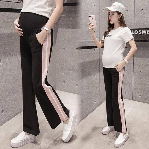 2017 Autumn Pregnancy Flared Trousers Fashion Striped Stitching Casual Maternity Pants for Pregnant Women Clothing Outfits