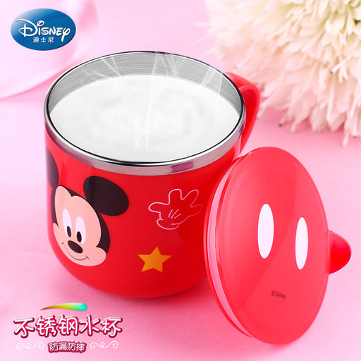 Disney 290ML Children Stainless Steel Milk Mug Baby Durable Feeding Milk Cup Mickey Minnie Home School Cup with Cover