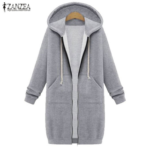 2017 Autumn Winter ZANZEA Women Hoodies Sweatshirt Casual Loose Long Coat Pockets Zip Up Outerwear Hooded Jacket Tops Plus Size