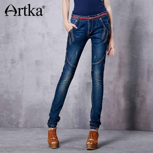 Artka Women Jeans With Embroidery Vintage Trousers Women 2017 Skinny Jeans Denim Pencil Pants Plus Size Elastic Jeans KN12621D