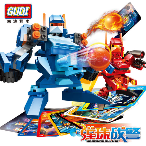 GUDI Battle Series ball Robot Cannonball Cops marbles Building Blocks Model Toys For Children Educational Blocks Toy