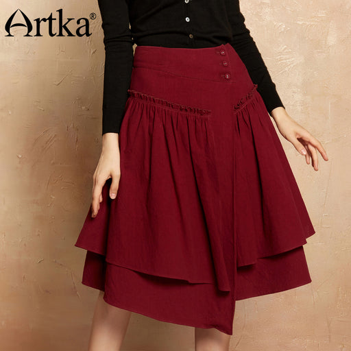 Artka Autumn Women's Skirt 2017 Asymmetrical A-Line Skirt Women Patchwork High Waist Skirt Female Red Vintage Skirt QA10173Q