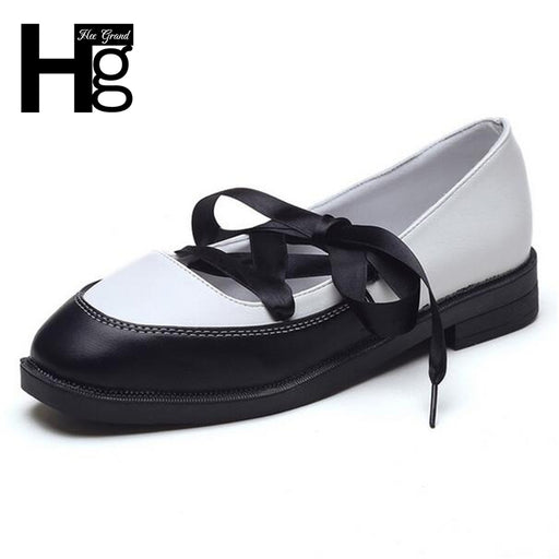 HEE GRAND Woman Daily Low Heels Cross-tied Oxfords for Girls Fashion Lace up Square Toe Spring Women Shoes XWD5831