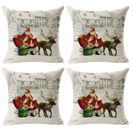 4PCS Linen Square Throw Flax Pillow Case Decorative Cushion Pillow Cover