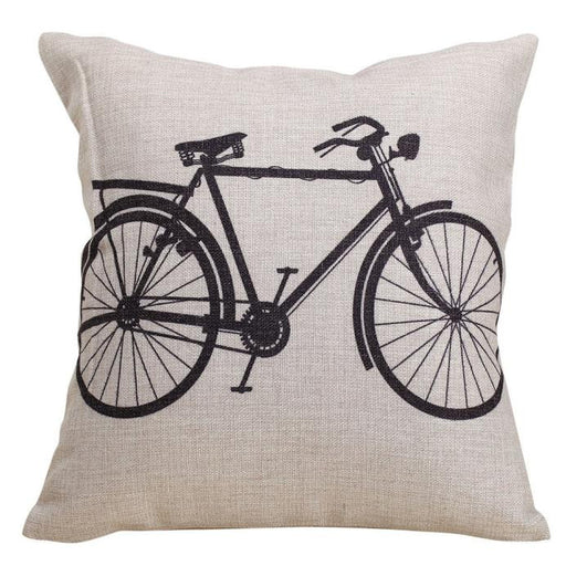 Bicycle Decorative Linen Cloth Pillow Cover Cushion Case 18 x 18 Inch