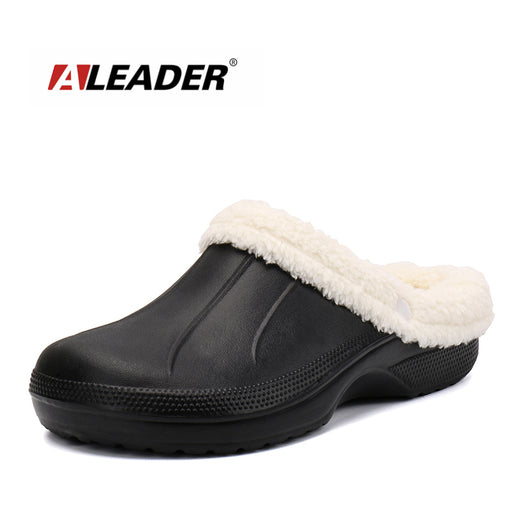 ALEADER Winter Warm Slippers Mens Fur Lined Crocus Clogs Waterproof Garden Shoes Removable Lining House Slippers For All Seasons