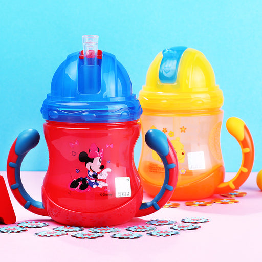 Disney 210ML Plastic Baby Learn Drinking Cup Children's Straw Feeding Cup with Handle Portable Leakproof Durable Suction Bottle