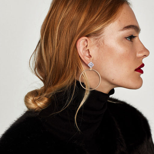 1 Pair New Fashion Lady Women Drill Round Big Large Dangle Hoop Loop Earrings