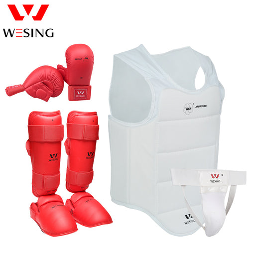 Wesing Karate Protective Gears Set for Training Competition Approved by WKF Chest Guard Gloves Shin Groin Guard for Men Women