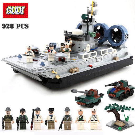 GUDI Building Blocks Marine Series Missile Destroyer Chaser Ship Model Assembled Brick Educational Toys Brinquedos For Children