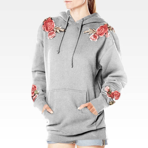 2017 Fashion Women Hooded Roses Embroidered Lantern Sleeve Pockets Drawstring Casual Sweatshirt Elegant Hoodies Pullover Top