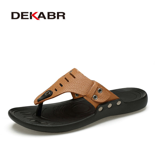 DEKABR 2018 Brand Casual Men Sandals Slippers Summer Fashion Beach Men Casual Shoes Genuine Leather Flip Flops Big Size 35-47