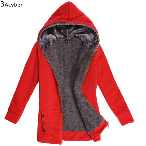 2018 Winter Thicken Women Sweatshirts Fleeve Hoodies Casual Sweatshirt Warmer Coat Outerwear Jacket Female